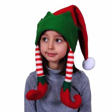 2x stuks elfen mutsen/kerstmutsen rood/groen voor kinderen