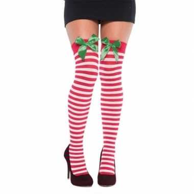 Kerst dames kousen met strikje