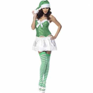 Sexy dames kostuum groen en wit