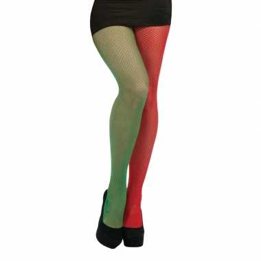 Visnet panty rood/groen voor dames